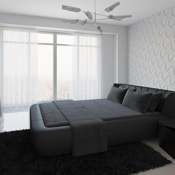 Realistic Interior Scene + PSD File - Bedroom 001