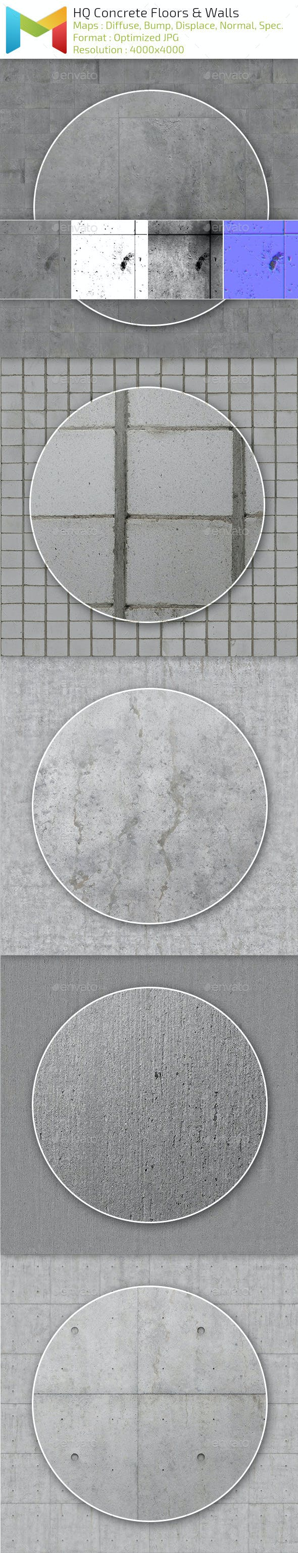 Concrete Floors and Walls HQ Textures - 3DOcean Item for Sale