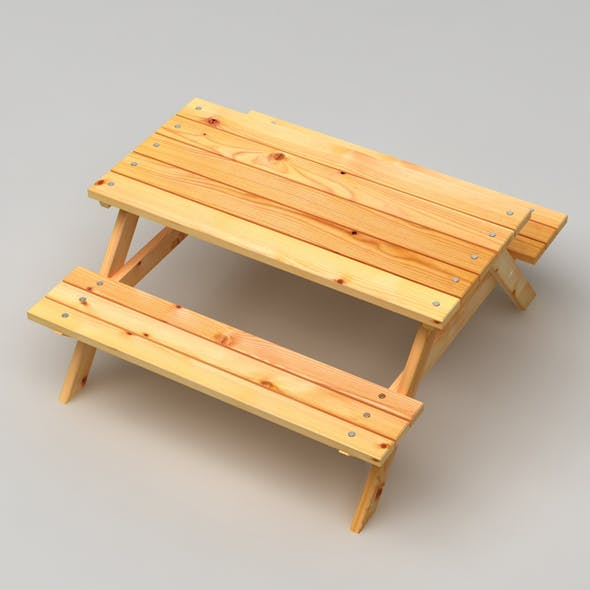 Realistic Wooden Picnic Table