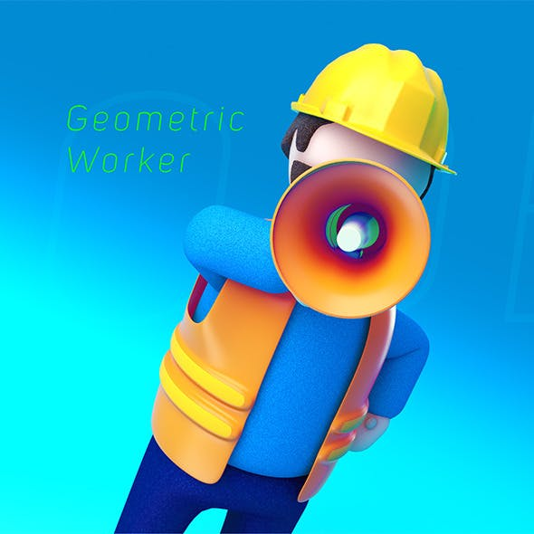 Geometric Low Poly Worker 01