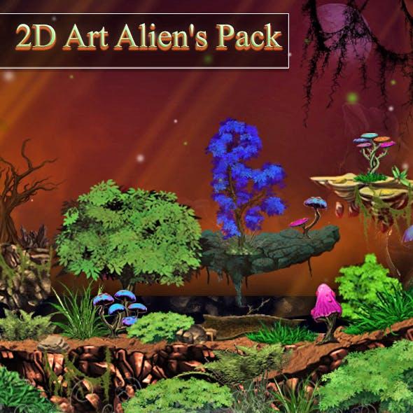 2D Alien's Art Pack - 3DOcean Item for Sale