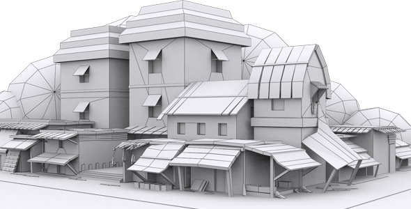 Low Poly Market Model - 3DOcean Item for Sale