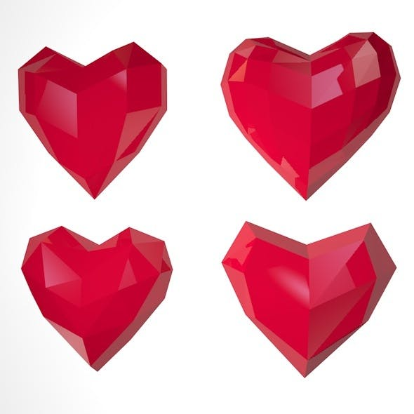 Low Poly Hearts - 3DOcean Item for Sale