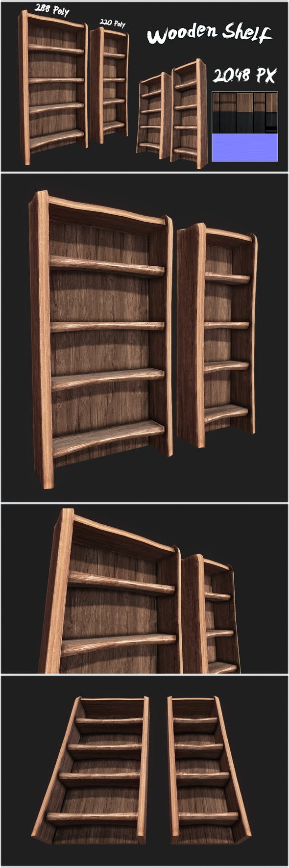 Rustic Wooden Shelf 01 - 3DOcean Item for Sale