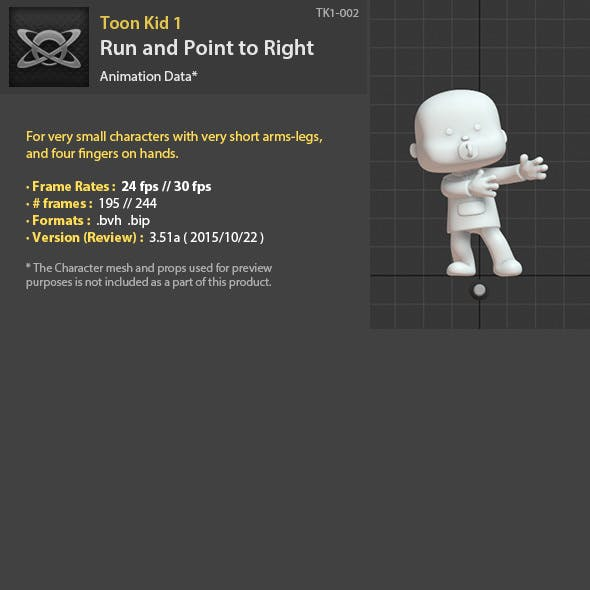 TK1-002 Run and Point to Right - 3DOcean Item for Sale