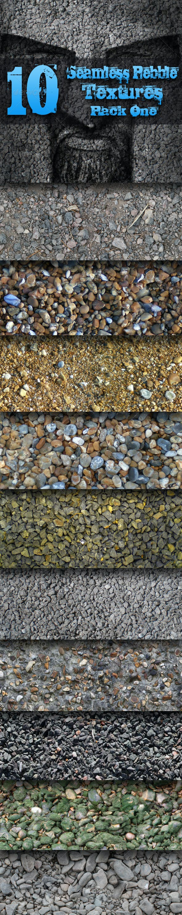 10 Seamless Pebble Textures - Pack One - 3DOcean Item for Sale