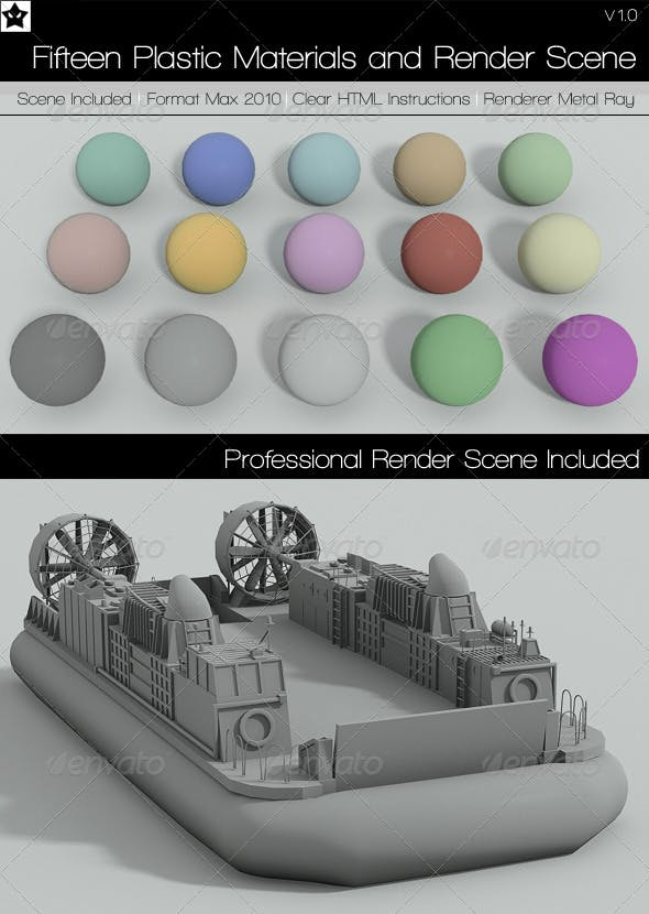 15 plastic Materials and Render Scene - 3DOcean Item for Sale