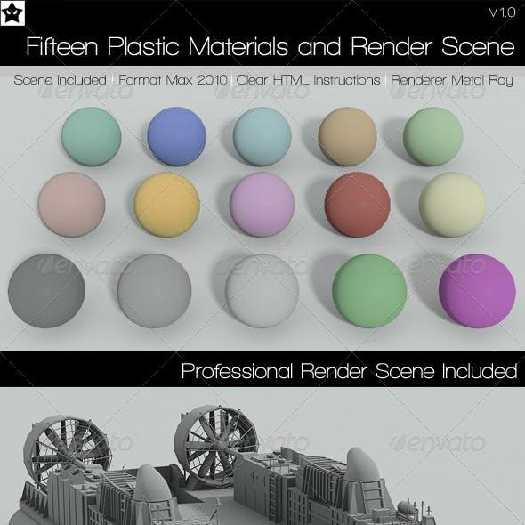 15 plastic Materials and Render Scene