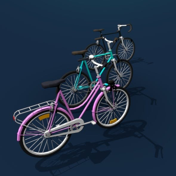 Bicycle Colletion Low Poly