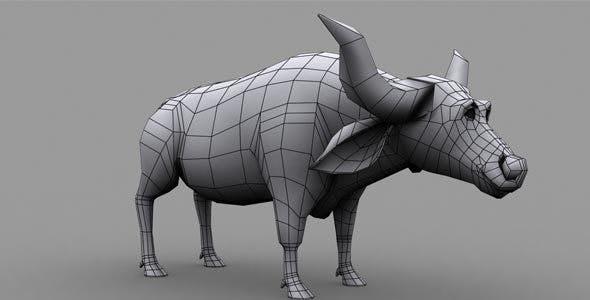 Buffalo Low Poly Model - 3DOcean Item for Sale