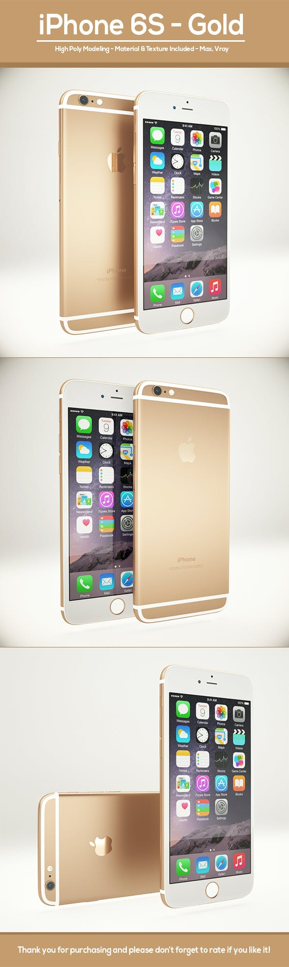 Apple iPhone 6S Gold - 3DOcean Item for Sale