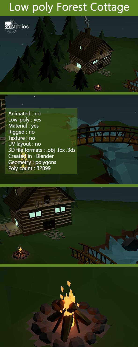 Low Poly Forest Cottage - 3DOcean Item for Sale