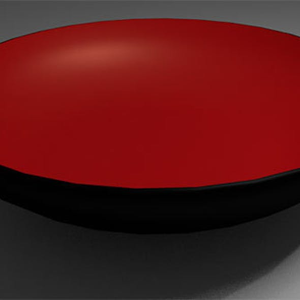 Black Bowl with Red Interior