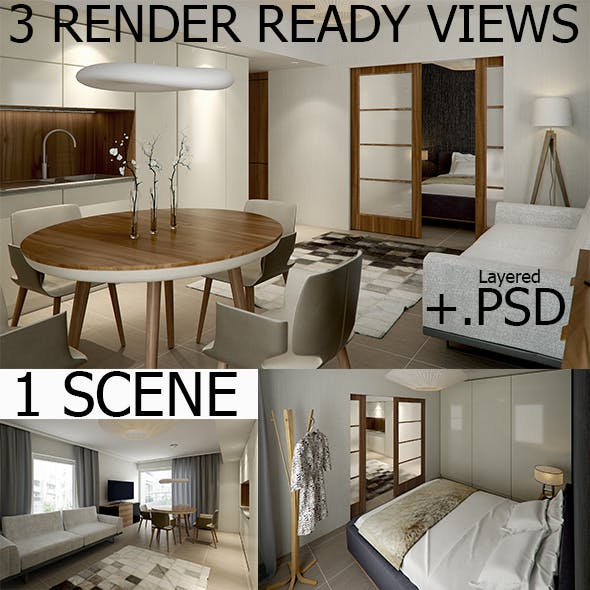 Interior Vray Scene with 3 RenderReady Views + PSD - 3DOcean Item for Sale