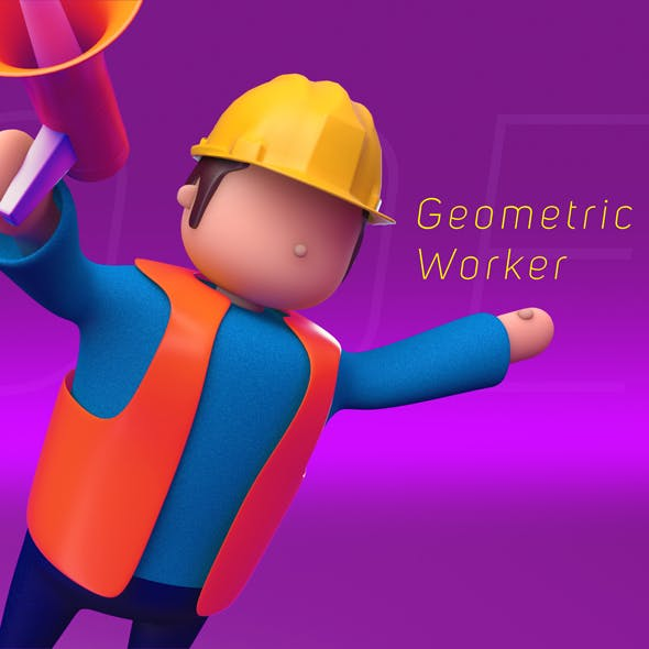 Geometric Low Poly Worker 02