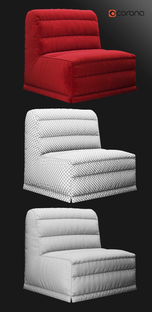 Velour sofa bed - 3DOcean Item for Sale