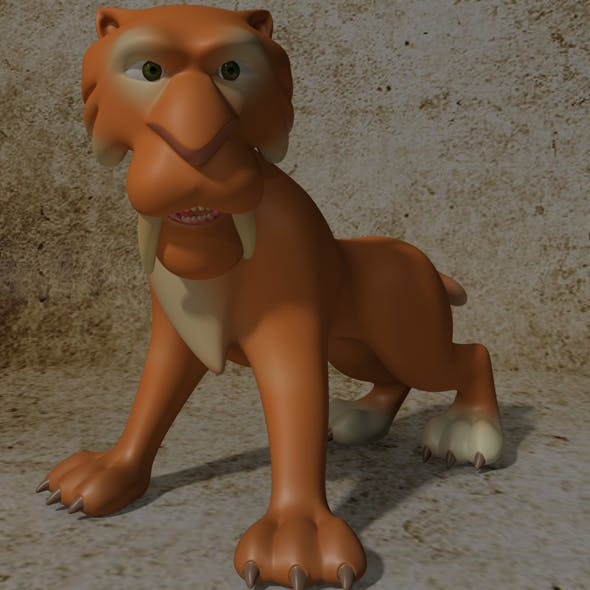 Cartoon Sabertooth Tiger RIGGED