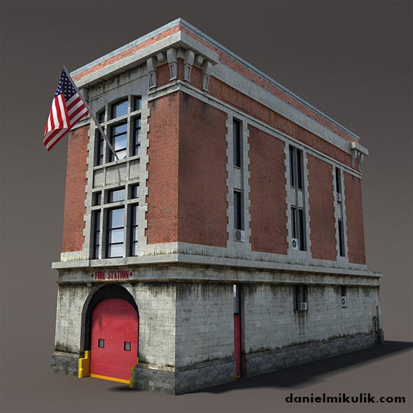 Fire Station Building Low Poly