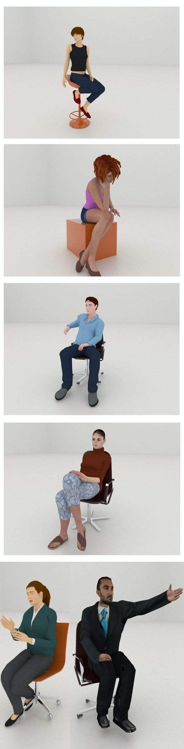 SIX sitting people I - 3DOcean Item for Sale
