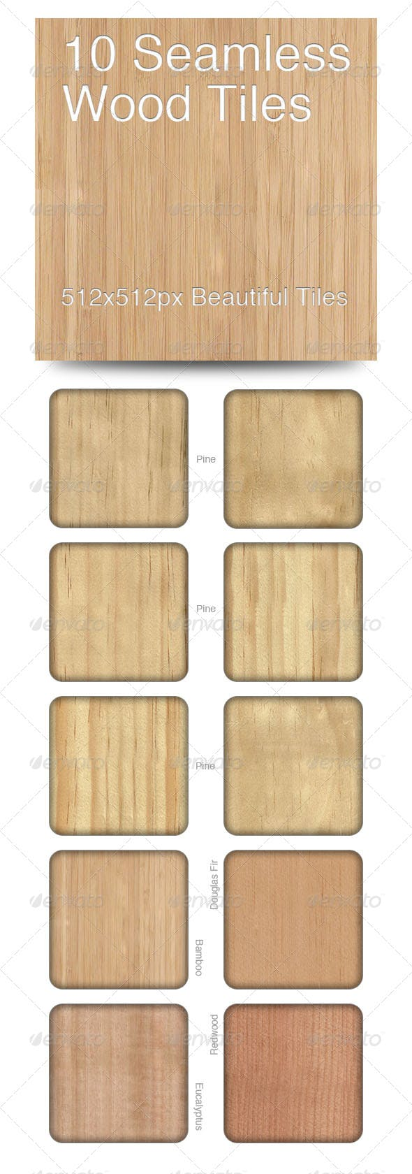 10 Seamless Wood Tiles - 3DOcean Item for Sale