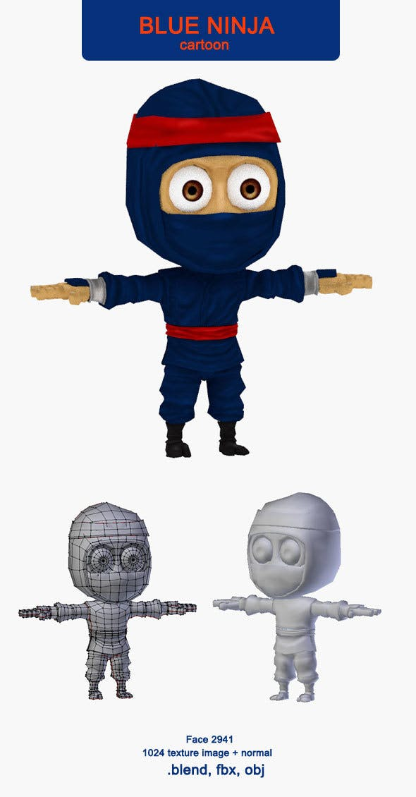 Ninja blue - 3DOcean Item for Sale