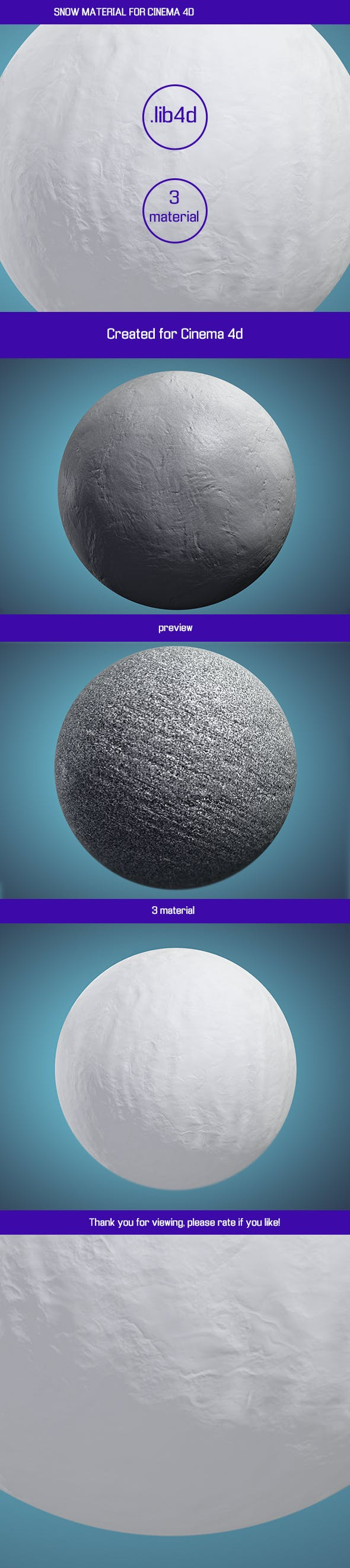 SNOW MATERIAL FOR CINEMA 4D - 3DOcean Item for Sale