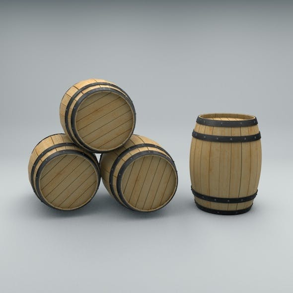 Wooden Barrel with Metal Bands