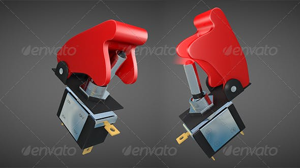 Toggle Switch with Flip-up Safety Cover - 3DOcean Item for Sale