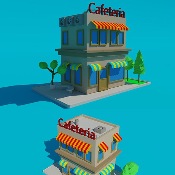 Low Poly Cafeteria