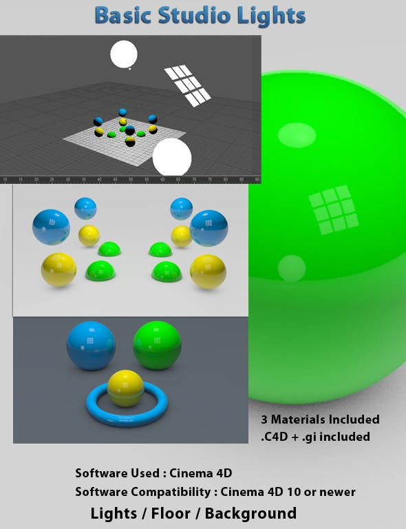 Basic Studio Lights - 3DOcean Item for Sale