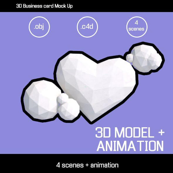 3D LOW POLY HEART AND ANIMATION SCENES