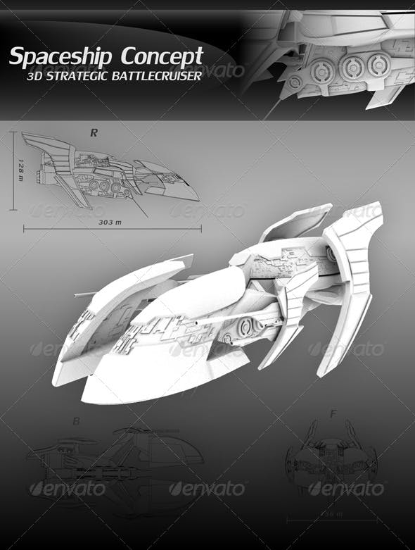 3D Spaceship Concept - 3DOcean Item for Sale