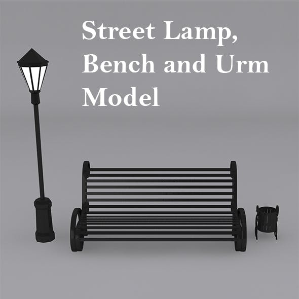 Street Lamp, Bench with Urn Model