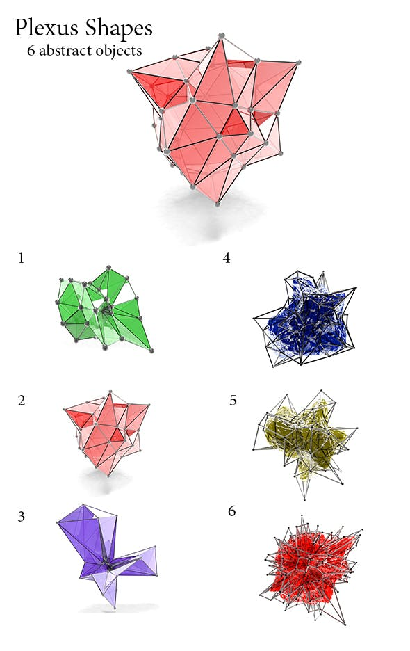 6 Plexus Shapes - 3DOcean Item for Sale