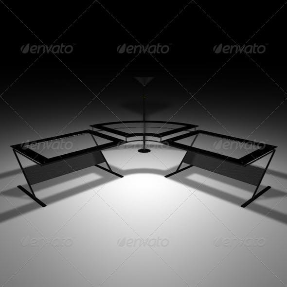 Black glass desk - 3DOcean Item for Sale
