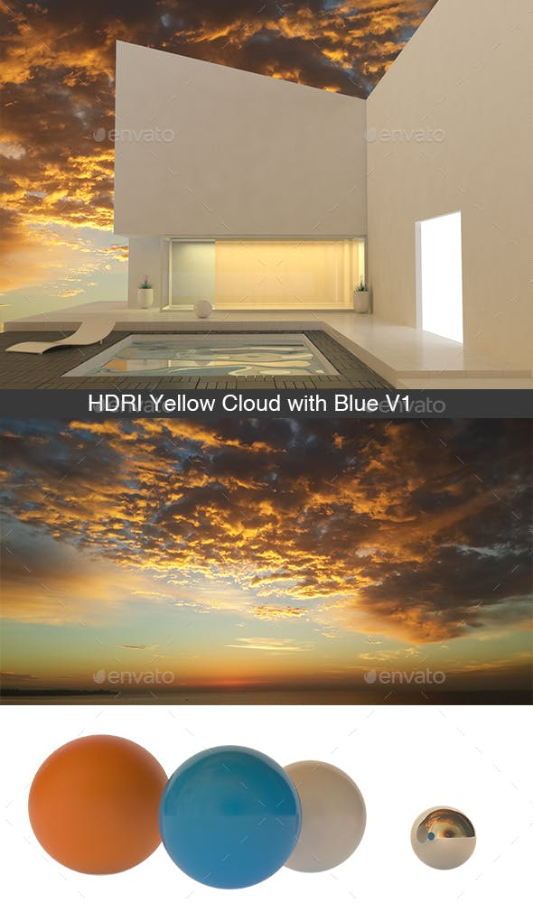 Yellow Cloud with Blue V1  - 3DOcean Item for Sale