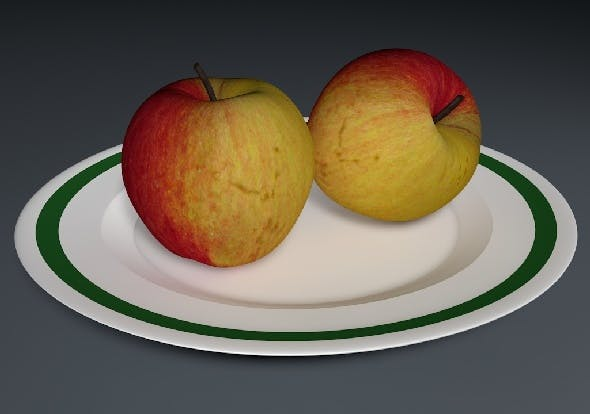 Apple with Plate - 3DOcean Item for Sale
