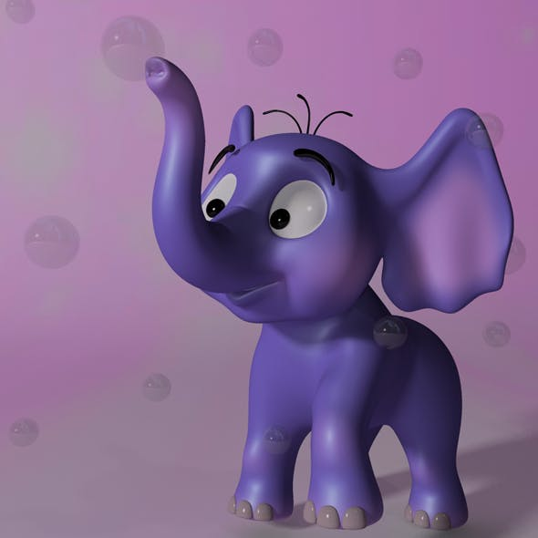 Cartoon baby elephant RIGGED - 3DOcean Item for Sale