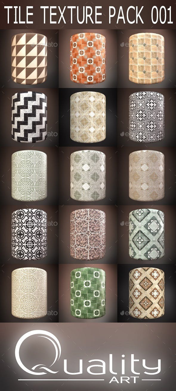 Tile Textures Pack 001 - 3DOcean Item for Sale