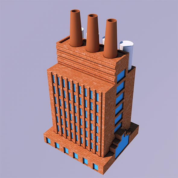 Low Poly Factory (Ready to Render)