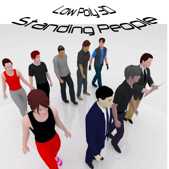 9 Low Poly 3D Standing People