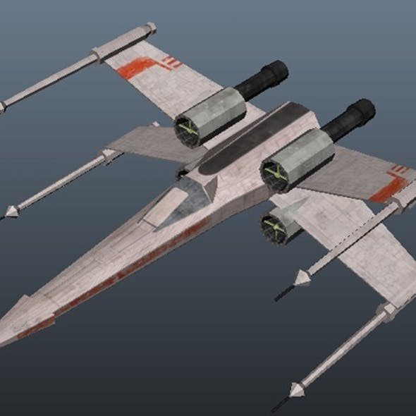 Star Wars X-wing fighter - low poly