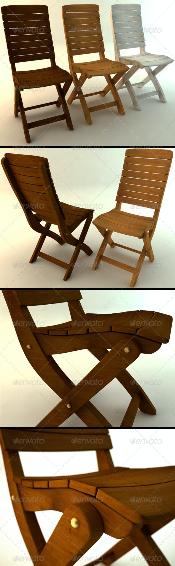 Wooden Chair in Three Colors - 3DOcean Item for Sale