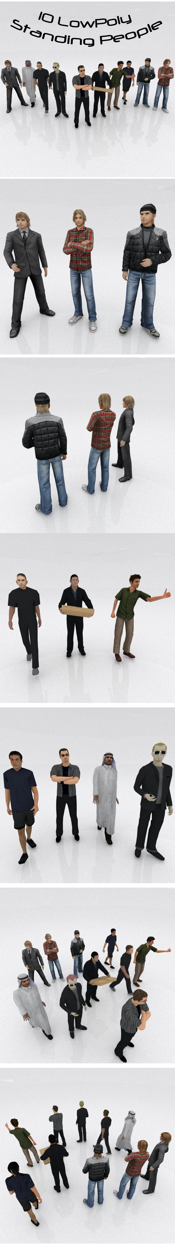 10 Low Poly Standing People - 3DOcean Item for Sale