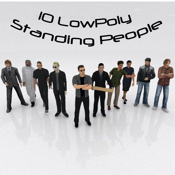 10 Low Poly Standing People