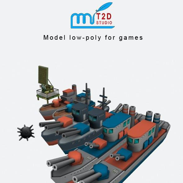 battle ship lowpoly