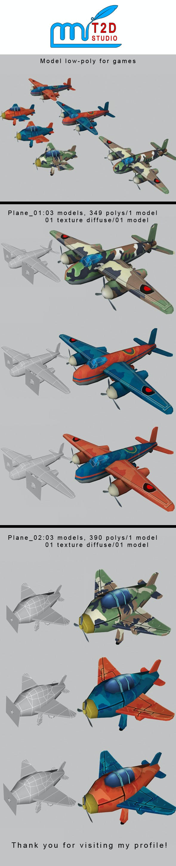 plane low-poly - 3DOcean Item for Sale