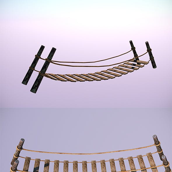Low Poly Wooden Bridge - In-Game Objects