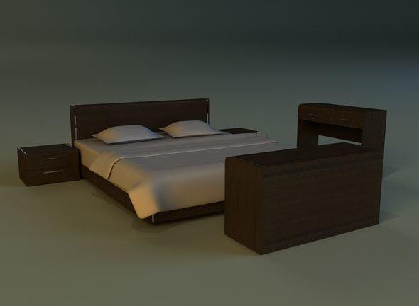 Bed dark wood - 3DOcean Item for Sale