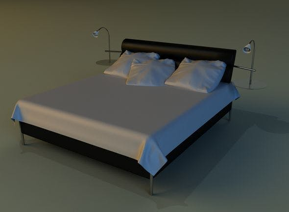 Bed black leather - 3DOcean Item for Sale